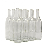 750mL Clear Bordeaux Flat Bottom Wine Bottles